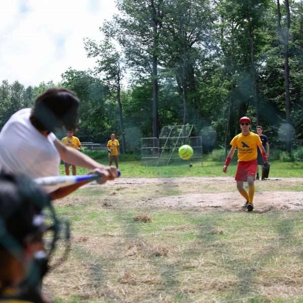 Campers playing baseball