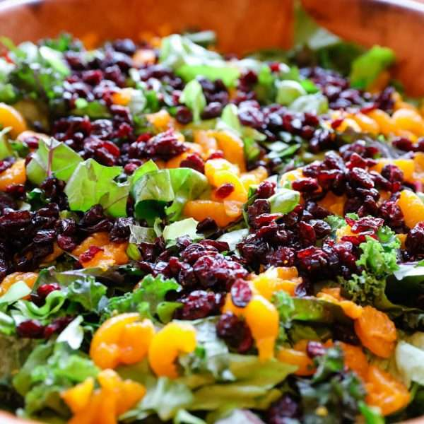 Close-up shot of a colorful salad