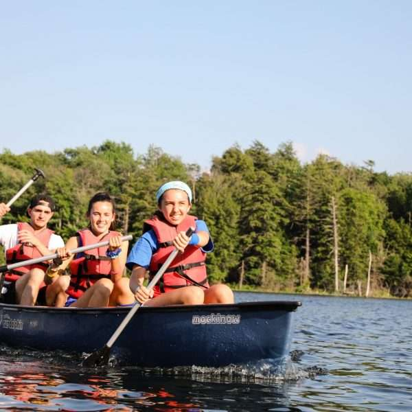 Group of campers on the boating lake