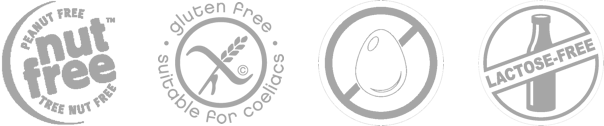Logos for 'nut free', 'gluten free', 'egg free' and 'gluten free'
