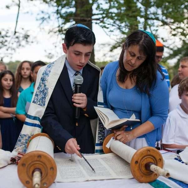 Young man part way through his Barmitzvah