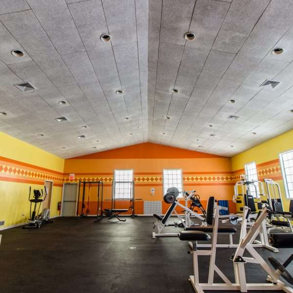 Inside the gym and fitness center when empty